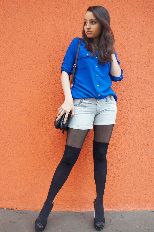 Look Azul e Preto